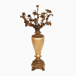 18th-Century Gilt Bronze & Walnut Candelabrum