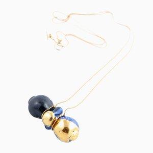 Black, Cobalt & Gold Sucker Pendant by Maria Juchnowska, 2016