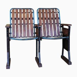 Seduta da cinema in legno e ferro, anni '50