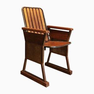 Sedia da cinema in legno e ferro, anni '50