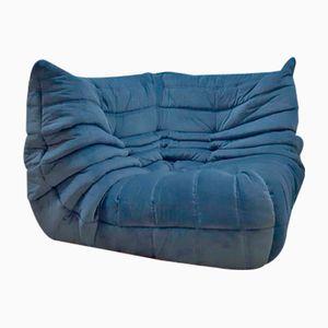 Canapé d'Angle Togo Vintage en Velours Bleu par Michael Ducaroy pour Ligne Roset