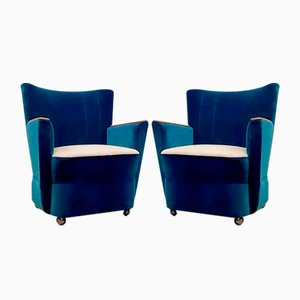 Blaue Mid-Century Sessel, 1950er, 2er Set