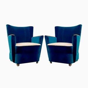 Butacas Mid-Century azules, años 50. Juego de 2