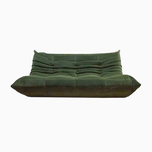 Vintage Forest Green Velvet Togo Sofa by Michael Ducaroy for Ligne Roset