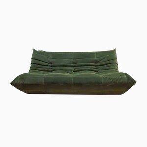 Vintage Togo Sofa mit waldgrünem Samtbezug von Michael Ducaroy für Ligne Roset