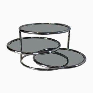 Tavolino da caffè in acciaio e vetro di Milo Baughman per Morex, Italia, anni '70
