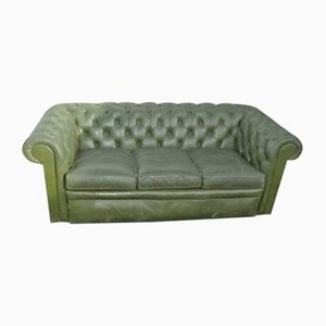 Grünes 3-Sitzer Chesterfield Sofa aus Leder, 1960er