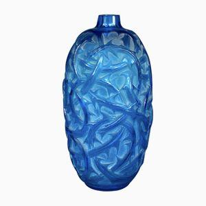 Vase Brambles en Verre Bleu par Rene Lalique, 1921