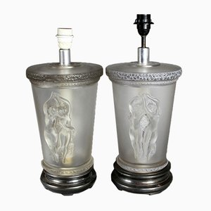Satin Glass Nymph Table Lamps by Marc Lalique, 1950s, Set of 2