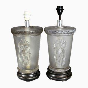 Tischlampen aus Satinglas mit Nymphen-Motiven von Marc Lalique, 1950er, 2er Set