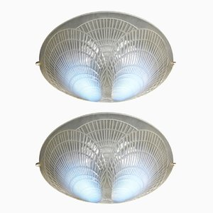 Opaline Glass Wall Lights by Rene Lalique, 1921, Set of 2