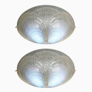 Wandlampen aus Opalglas von Rene Lalique, 1921, 2er Set