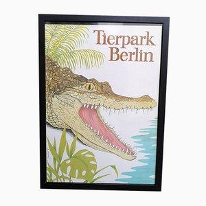 Vintage Tierpark Berlin Framed Zoo Poster by Reitschel, 1987