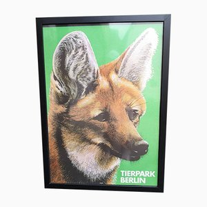 Vintage Tierpark Berlin Fox Framed Poster by Voigt, 1986