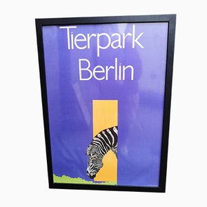 Vintage Tierpark Berlin Zebra Framed Poster by Reitschel, 1980