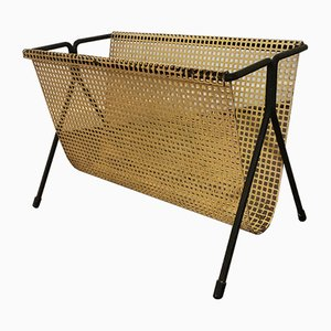 Vintage Perforated Metal Magazine Rack, 1950s