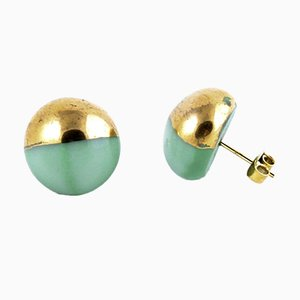 La Traviata Earrings in Green & Gold by Maria Juchnowska, 2015