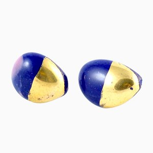 La Traviata Earrings in Dark Cobalt & Gold by Maria Juchnowska, 2015