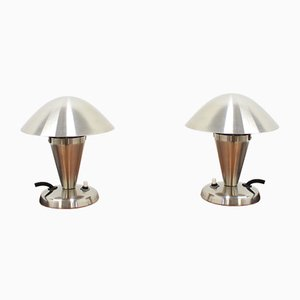 Bauhaus Chrome Table Lamps, 1930s, Set of 2