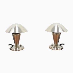 Lámparas de mesa Bauhaus de metal cromado, años 30. Juego de 2