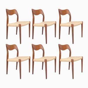 Model 71 Teak & Paper Cord Dining Chairs by Niels O. Møller for J.L. Møllers, 1950s, Set of 6