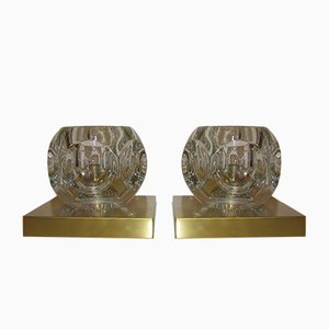 Vintage Brass & Glass Wall Lamps from Peill & Putzler, 1970s, Set of 2