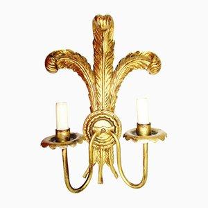 Barocke Wandlampe aus vergoldetem Holz, 1950er