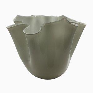 Vintage Vase aus Opalglas in Taschentuch-Optik von Fulvio Bianconi für Venini, 1997