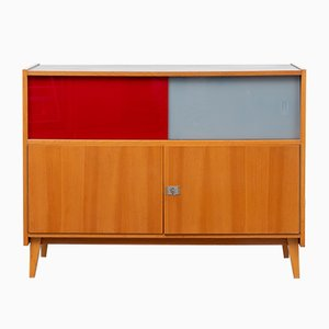 Cabinet with Colorful Sliding Glass Doors, 1960s