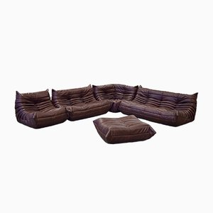 Vintage Togo Chocolate Brown Leather Living Room Set by Michel Ducaroy for Ligne Roset, 1980s