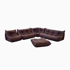 Vintage Togo Chocolate Brown Leather Living Room Set by Michel Ducaroy for Ligne Roset, 1980s