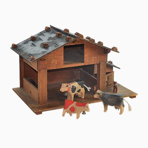 Swiss Hand Carved Barn with Animals from Schild Berner Oberland, 1950s