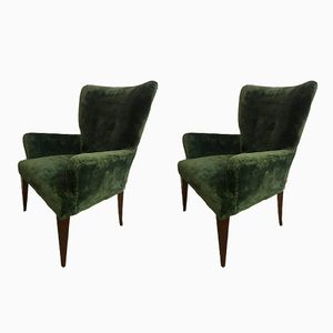 Fauteuils en Velours, 1950s, Set de 2
