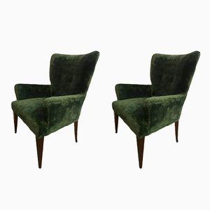 Velvet Armchairs, 1950s, Set of 2
