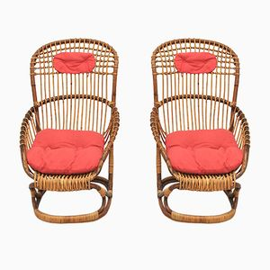 Wicker Chairs by Tito Agnoli for Pierantonio Bonacina, 1959, Set of 4