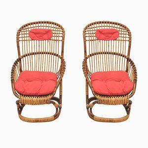 Wicker Chairs by Tito Agnoli for Pierantonio Bonacina, 1959, Set of 4