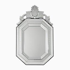 Espejo sueco grabado de cristal grabado, años 70