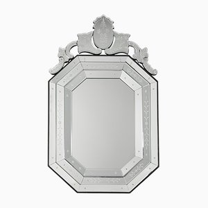 Swedish Engraved Crystal Mirror, 1970s