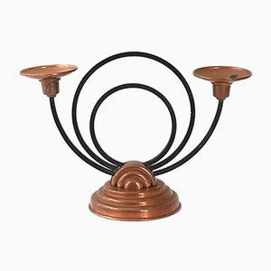Art Deco French Copper & Steel Candleholder from Villedieu, 1940s