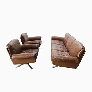 Swiss DS 31 3-Seat Sofa & Swivel Lounge Chairs from de Sede, 1970s