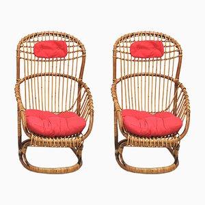 Chaises en Osier par Tito Agnoli pour Pierantonio Bonacina, 1959, Set de 4
