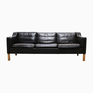Vintage Black 2213 Leather Three-Seater Sofa by Børge Mogensen for Fredericia, 1960s
