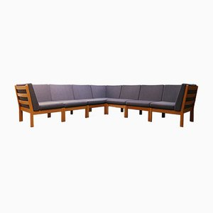Large Blue Grey Modular GE 280 Oak Sofa by Hans J. Wegner for Getama, 1980s