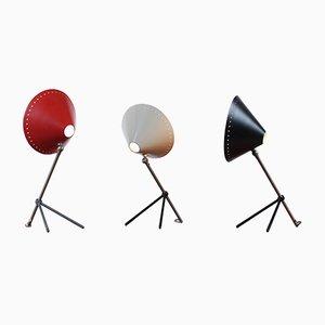 Lámparas de mesa Pinocchio trípode de H. Th. J. A. Busquet para Hala, años 50. Juego de 3