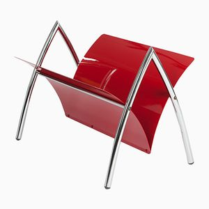 Vintage Red Metal & Chrome Magazine Rack, 1970s