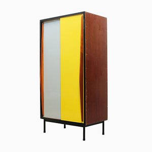 Grey, Yellow, & Black Painted Teak Cabinet by Willy van der Meeren for Tubax, 1950s