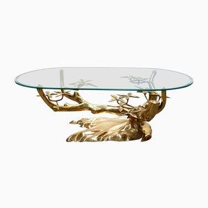 Mesa de centro Bonsai de vidrio y latón de Willy Daro, años 70