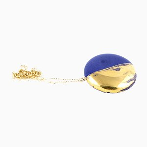 La Traviata Brooch Pendant in Cobalt & Gold by Maria Juchnowska, 2015