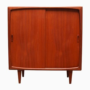 Danish Sculpted Teak Highboard by H.P. Hansen, 1950s