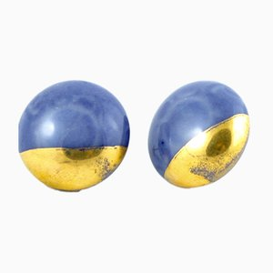 La Traviata Earrings in Cobalt Blue & Gold by Maria Juchnowska, 2015